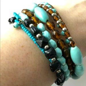 🌻4/$10 Glass Bead Memory Wrap Bracelet